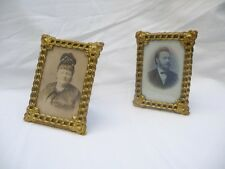 ANTIQUE PAIR DECORATIVE BRASS ORMOLU PICTURE FRAMES with OLD PHOTOS