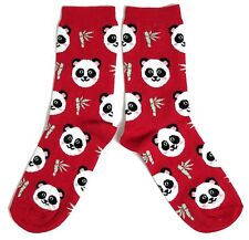 LADIES CHINESE GIANT PANDA & BAMBOO RED SOCKS UK 4-8 EUR 37-42 USA 6-10