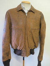 "Vintage Genuine Schott NYC Leather Bomber Harrington Jacket 44"" Euro 54 - Brown"