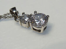 Beautiful & Dainty Double CZ Daimond 925 Silver Pendant & Chain Necklace