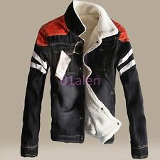 Mens Fleece Jean Chic Jacket Motor Coat Cowboy Leisure Denim Slim Fit Warm Parka