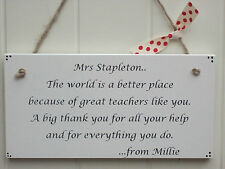Personalised Handmade Wooden Sign - Thank You Teacher Gift Plaque