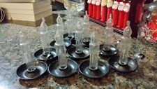 10 Vintage Large Clear Plastic Candles In Holder. Christmas Tree Light Covers