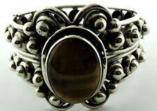 STERLING SILVER TALLERES DE LOS BALLESTEROS TIGER EYE BANGLE BRACELET