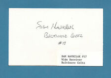 Sam Havrilak  - Baltimore Colts  WR - RB - Signed 3 x 5 Index Card   #1