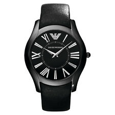 BRAND NEW EMPORIO ARMANI AR2059 SUPER SLIM BLACK LEATHER MEN'S WATCH