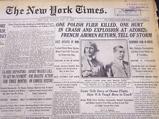 1929 JULY 15 NEW YORK TIMES - POLISH FLIER KILLED IN CRASH AT AZORES - NT 5303