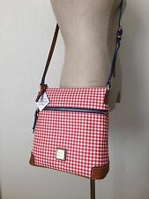 Dooney & Bourke Red White Checker Canvas Convertible Crossbody Messenger Bag NWT