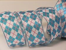 5yds Aqua Blue Harlequin Argyle Christmas Wedding Wired Ribbon Crafts Gifts Bow
