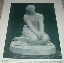1892 Antique Print JOAN OF ARC by Henri Chapu Statue Luxembourg Gallery Paris