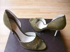 Gucci Shoes D'Orsay Pumps Signature Riding Olive Leather sz 38.5 US 8.5 NEW