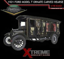 GREENLIGHT PC-18013 1:18 1921 FORD MODEL T ORNATE CARVED HEARSE BLACK
