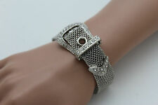 New Women Bracelet Silver Metal Wrist Bangle Fashion Jewelry Belt Buckle Charm