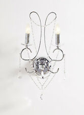 Luxury Chrome & Crystal Glass Jewelled Wall Light Chandelier Style Swirl Silver