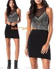 NWT bebe XXS XS S black silver gold stud embellished mesh cutout back top dress