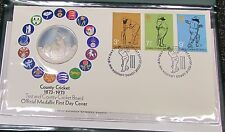 1973 100 Years of County Cricket Silver Proof Medallion & First Day Cover