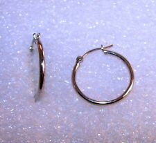 """Simple Classy Vintage 14kt White GOLD 3/4"""" dia. 1.5mm thick Hoop Earrings 0.7g"""