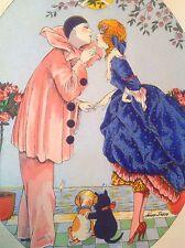 Vintage Xavier Sager Harlequin French Pochoir Art Print Pierrot Girl Kissing
