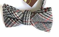 Bnwt Prince Of Wales Check Tweed Wool Bow Tie Adjustable Double Bow