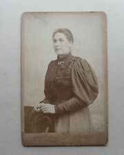 Antique c1880 B/W Photograph/ Cabinet/ CDV. Victorian Woman in Black Dress