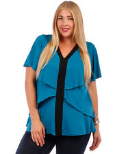 NEW! WOMEN'S PLUS SIZE CLOTHING TEAL AND BLACK GORGEOUS BATWING BLOUSE 5X