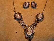 """Antique VICTORIAN 800 STERLING SILVER FILIGREE CAMEO NECKLACE & EARRINGS SET 17"""""""