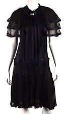 CHANEL 05A Black Silk Crepe & Satin Stripe Layered Cape Cocktail Dress 38