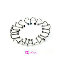 Wholesale Chic 20PCS Colorful Nose Bar Rings Piercing Nose Studs Body Jewelry