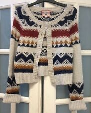 VGC NEW LOOK FAIR ISLE CROPPED WOOL BLEND CARDIGAN SIZE 10