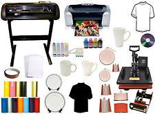 8 in 1 Combo Heat Press 1000g Vinyl Cutter Plotter Printer CISS Mug Ink Start-up