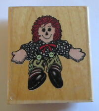 Freddy Rag Doll Rubber Stamp Raggedy Buttons Yarn Hair Retired J373