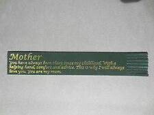 BOOKMARK LEATHER MOTHER MUM I Will Always Love You Green Gold