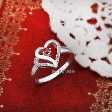 Fashion sterling Silver  plated HEART Pretty Austria Crystal Ring box R274-925