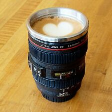 New Travel Coffee Mug Cup 11oz Thermos Stainless Steel Canon Camera Lens w/ Lid