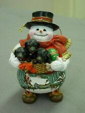 THOMAS KINKADE SNOWMAN WITH PUPPIES ORNAMENT NEW