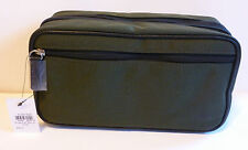 NEW Men's FOSSIL Double Zip Travel Shave Kit Toiletry Bag Olive Green Canvas