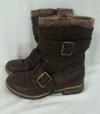 Kids black distressed buckle boots brown w sock top sz 3