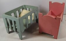 TWO MINIATURE VINTAGE WOODEN DOLLS HOUSE CRADLES CRIBS BEDS BOTH PAINTED