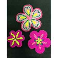Pink Flowers Felt Stitching Hearts Set of 3 Iron On Craft Motif Stylish Patch