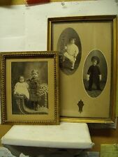 LOT OF 2 VINTAGE EARLY PICTURES OF BOY, BROTHER & SISTER IN WOOD FRAME
