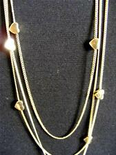 "$16 Nordstrom Multi-Layer Heart Station Necklace Brasstone Chains 37"" Long"