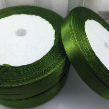 New 25 Yards 10mm Satin Ribbon Wedding Party Decoration Craft Sewing Army Green
