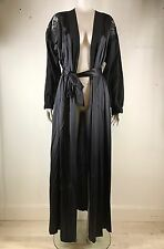 "MEDIUM long black silk La Perla ""Garland Robe"""