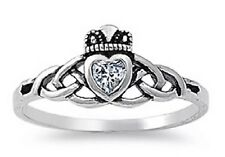 Genuine 925 Sterling Silver Clear Zircon Claddagh Celtic Knot Heart Ring Size 6