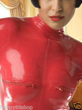 latex Rubber Gummi 0.4mm Zipper Suit Ganzanzug Catsuit Red Bodysuit Size XS-XXL