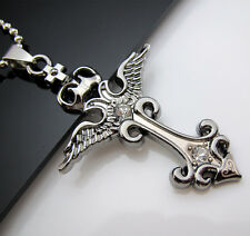Free Unisex's Men's Cool Titanium Steel Pendant Angel Sword Cross Necklace Chain