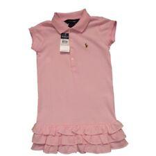 Ralph Lauren Kinder Mädchen Sommer Kleid Girl  USA 4 T Rüschen rosa uni  104