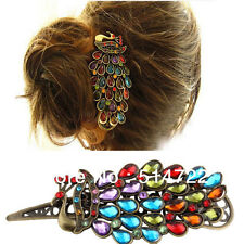 Retro BOHO VINTAGE BRONZE DECO PEACOCK DIAMANTE GEM HAIR CLIP HEADBAND WEDDING