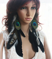 43A-6 black peacock Natural Feather Earrings Jewelry 1 pair
