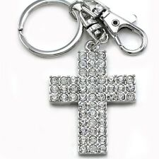 Christian Cross Silver Tone Clear Stones Fashion Key Ring Keychain Car Accessory